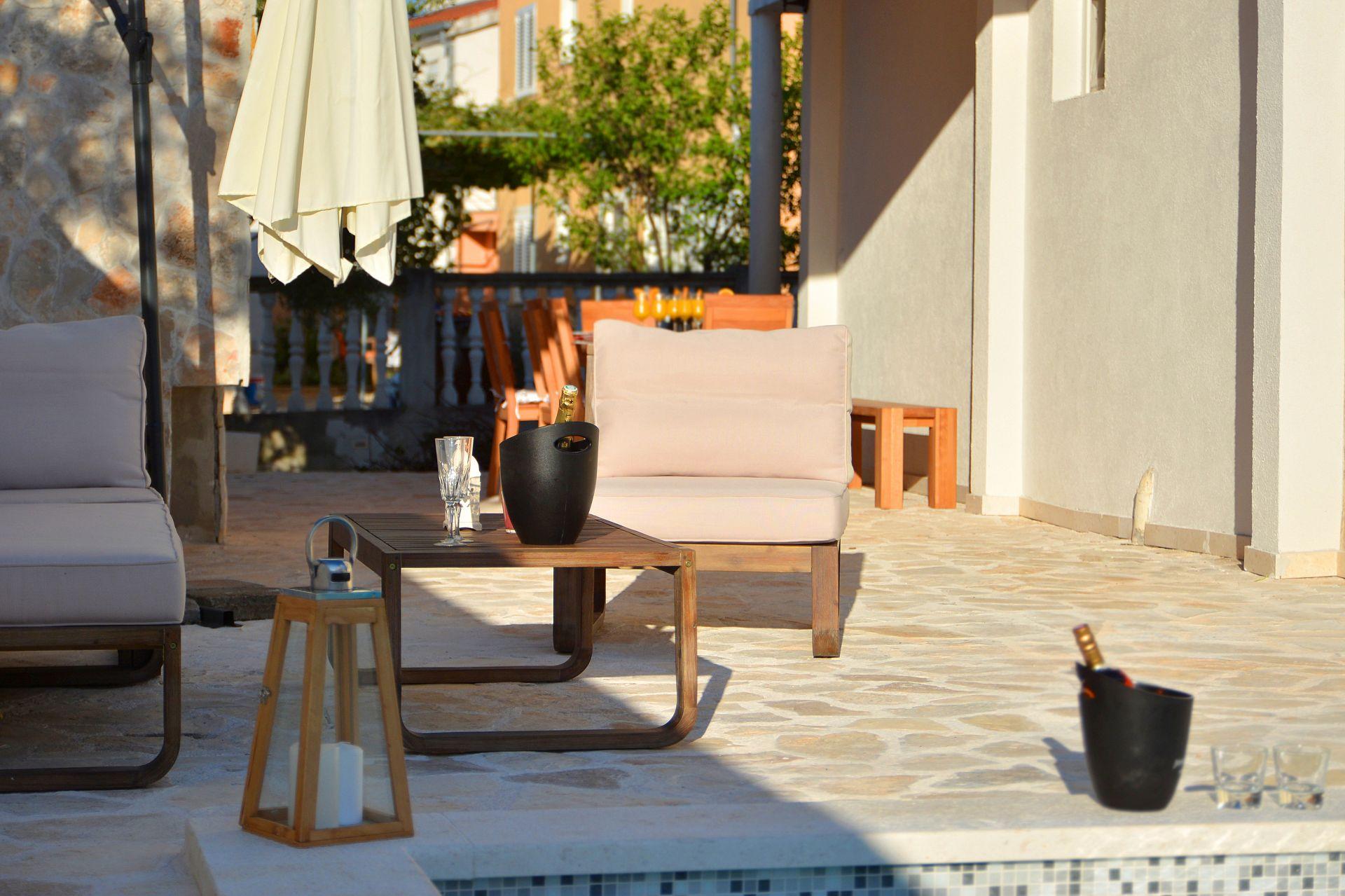 Zeljko - Marina - Appartementen Kroatië - A1(6+2): terras