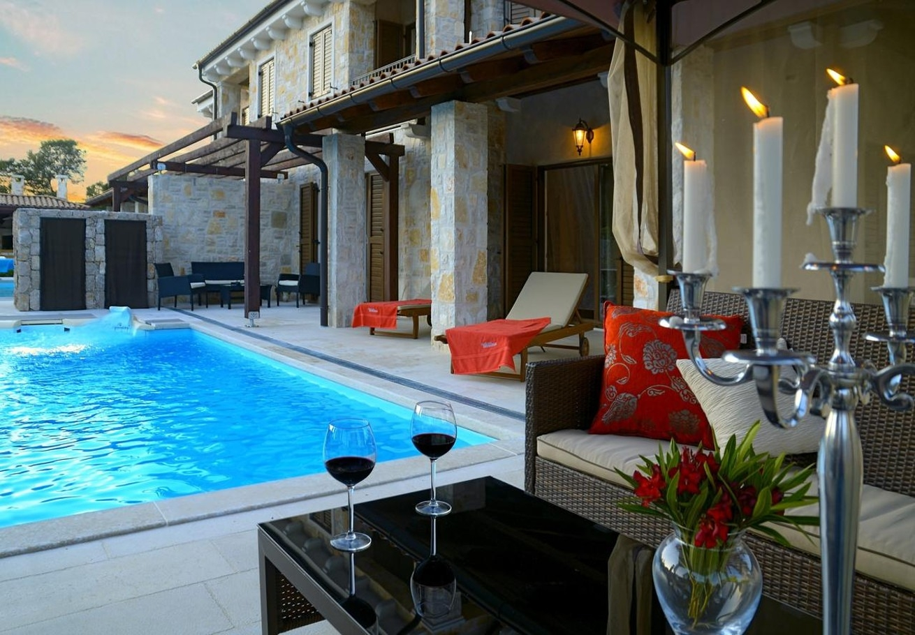 Holiday Homes, Malinska, Island of Krk - Holiday houses, villas  Berna - pool house: